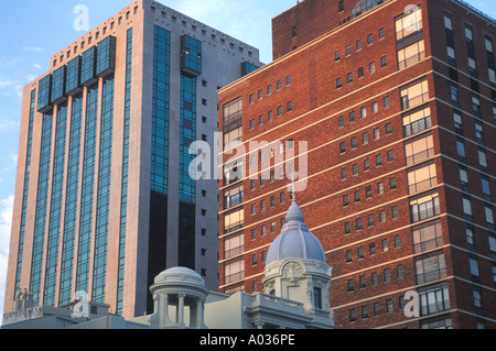 Uruguay Montevideo buildings skyline contrast old new architecture capital city structures - Stock Image