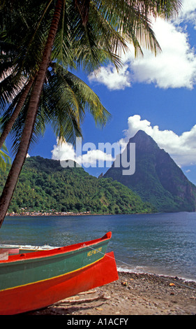 St Lucia  fishing boat  on beach at Soufriere town, petit piton - Stock Image