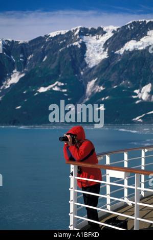 Alaska Inside Passage Cruise woman camera photographing - Stock Image