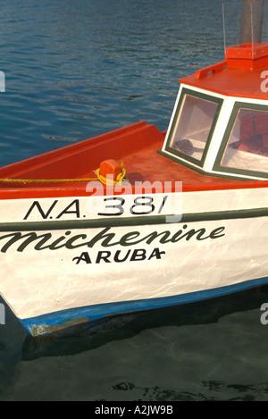Aruba Oranjestad Fishing Boat with Aruba Name - Stock Image