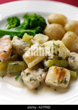 Pork, celery and leek casserole - Stock Image