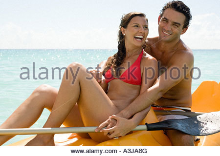 Couple canoeing - Stock Image
