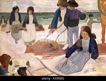 'fine arts, Gauguin, Paul, (1848 - 1903), painting, 'Breton seaweed collectors', 1889, Folkwang Museum, - Stock-Bilder