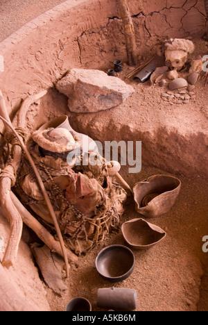 Chile San Pedro de Atacama archaeological museum burial site - Stock Image