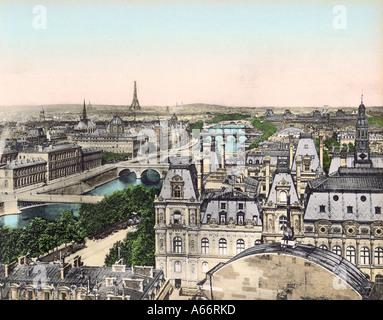 Paris Eight Bridges 1905 - Stock Image