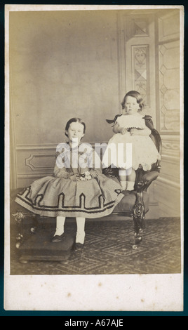 Two Girls Sims C1850s - Stock Image