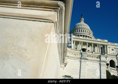 United States Capitol Building Washington DC USA Viewed From Below Copy Space - Stock Image