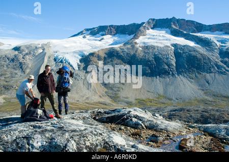 Glaciers and moraines from the Tiniteqilâq ridge, above Sermilik Fjord, East Greenland - Stock Image