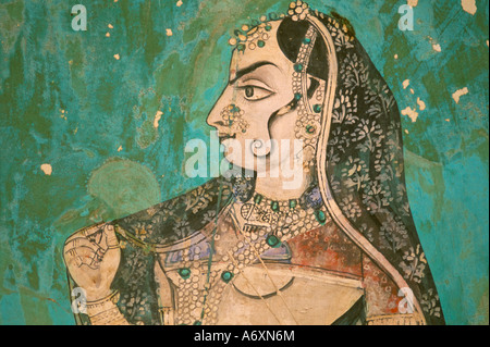 Painting in the palace Bundi Rajasthan state India Asia - Stock-Bilder