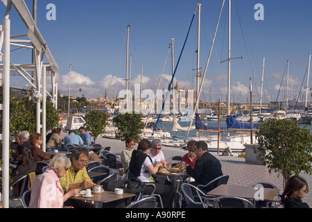 Mallorca port Cafe terasse people - Stock Image