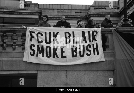 Bush Blair off Anti Iraq War Demonstration in Trafalgar Square London England United Kingdom Europe - Stock Image