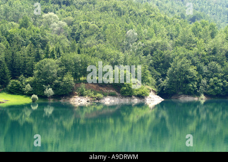 Tree reflections on a lake in the Sibillini National Park  ,Le Marche Italy - Stock Image