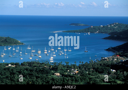 St John US Virgin Islands Overview aerial Coral Bay sailboats coastline south shore - Stock Image