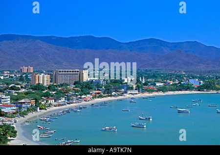 aerial Isla Margarita island Venezuela Juan Griego beach resort nobody - Stock Image