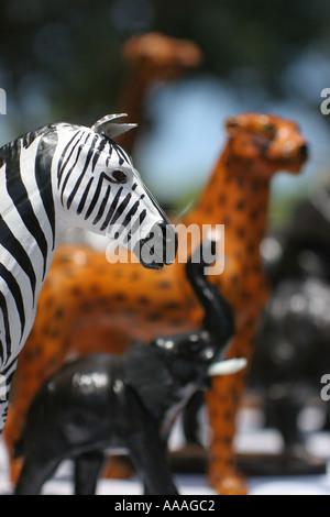 florida animal carvings art zebra elephant leopard wood painted