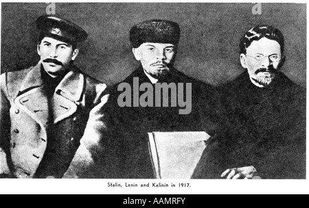 TRIO OF RUSSIAN REVOLUTIONISTS STALIN LENIN KALININ RUSSIA REVOLUTION GOVERNMENT POLITICS USSR - Stock Image