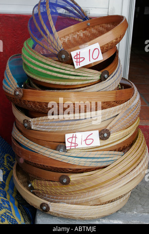 Saint Martin Marigot French Rue Charles De Gaulle baskets for sale - Stock Image