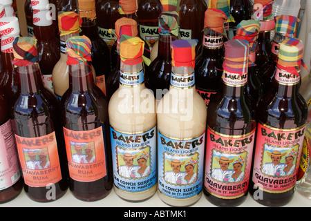 Sint Maarten Philipsburg Dutch bottles flavored liqueur alcohol - Stock Image