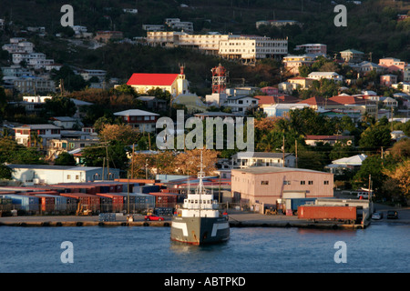 St. Thomas USVI Crown Bay commercial port cargo containers - Stock Image