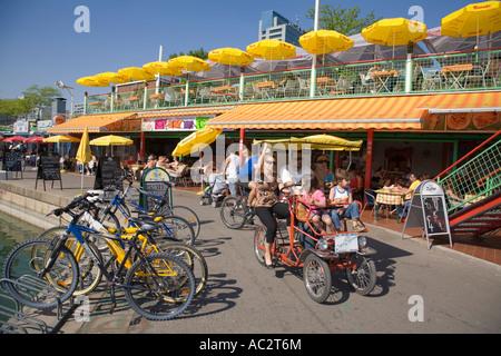 Vienna Donau Island street cafe - Stock Image