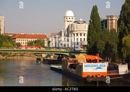 Vienna Badeschiff Wien Urania Donau river - Stock Image