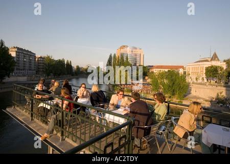 Vienna restaurant Urania open air at Donau riverside - Stock Image