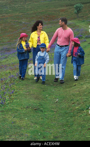 family walking in the countryside - Stock Image