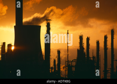 pollution global warming belching chimneys at a chemical plant Port Talbot Wales UK - Stock Image