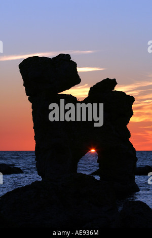 Natural sea stacks in Faro Gotland called Rauks. This rauk is one of the most famous standing in the water at Gamla - Stock Image