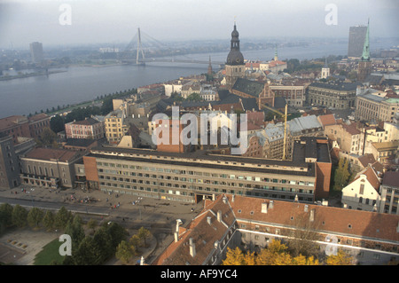 Latvia Riga Daugava River aerial city skyline historic buildings - Stock Image