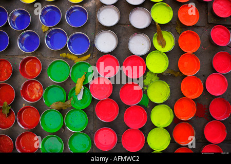 Pots of paint used for decoration of elephants for the Elephant Festival Jaipur India - Stock-Bilder