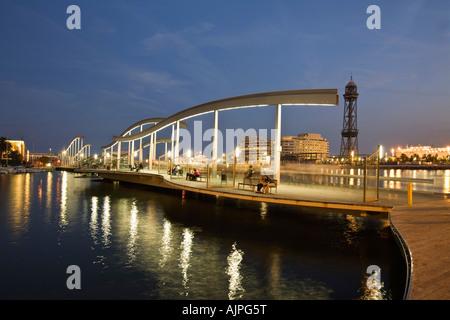 Barcelona Port Vell Rambla de Mar walkway - Stock Image