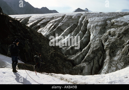 Crevasses on the Taschach glacier, Ötztal Alps, Austria - Stock Image