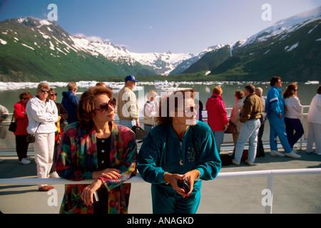 Alaska Portage Bay Portage Glacier Ptarmagin Tour Boat passengers scenery vacation - Stock Image