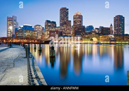 USA Boston Massachusetts Boston financial skyline viewed from fan pier - Stock Image