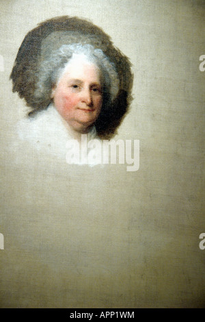 Photograph of a Portrait of First Lady Martha Washington Painted by Gilbert Stuart - Stock Image