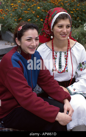Moldova Eastern Europe Kishinev University students modern dress national costume culture - Stock Image
