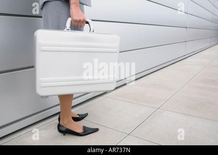 African businesswoman holding briefcase - Stock-Bilder