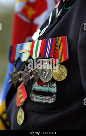 Medals on the chest of a war veteran at an Armistice Day Service in Exeter, Devon UK - Stock Image