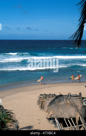 Caribbean Barbados beach Surfing on the Atlantic Coast - Stock Image