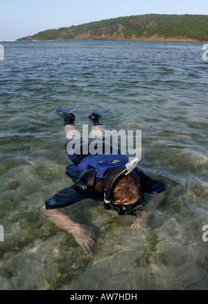 beach snorkel swim puerto rico tourist Seven Seas Fajardo - Stock Image