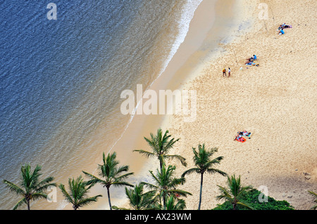Beach with palm trees and anglers, Rio de Janeiro, Brazil - Stock Image
