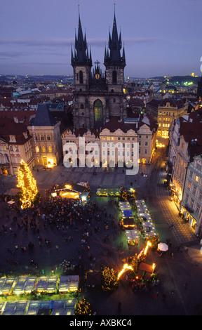 CZE Prague Old town square Teyn church christmas market - Stock Image