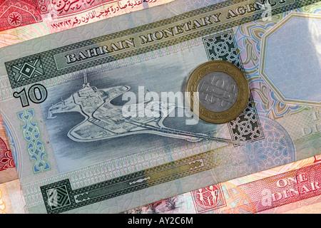 BHR Bahrain Money of Bahrain currency Dinar - Stock Image