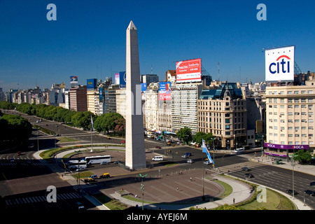 The Obelisk at the Plaza de la Republica in Buenos Aires Argentina - Stock Image