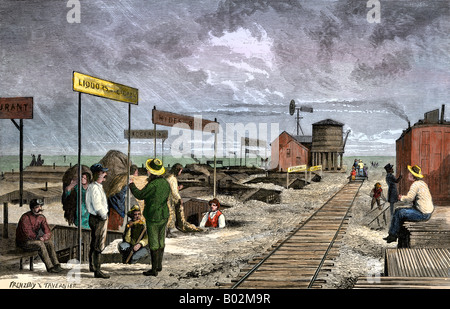 An underground village of dugouts doing business along the transcontinental railroad 1870s - Stock-Bilder