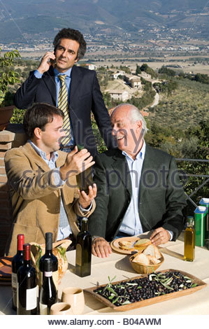 Men with italian food - Stock Image