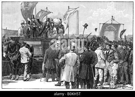 The Chartist Demonstration on Kennington Common, 1848, (1900). Artist: William Barnes Wollen - Stock Image