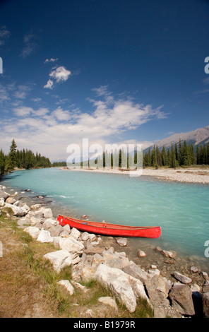 Canoe, Kootney River, Kootney National Park, British Columbia, Canada - Stock Image