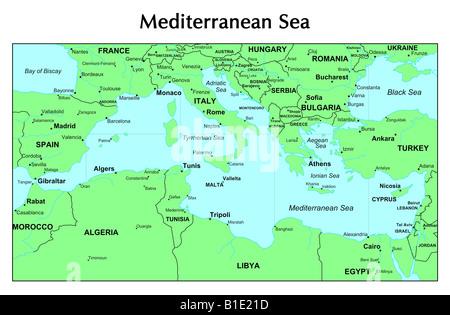 Mediterranean Sea Map Stock Photos  Mediterranean Sea Map Stock